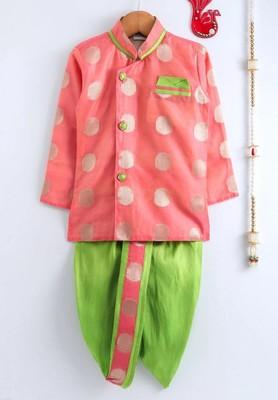 Pink woven chanderi boys-dhoti-kurta