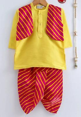 Yellow plain dupion boys-dhoti-kurta