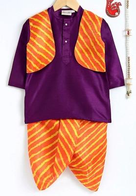 Purple Plain Dupion Boys Dhoti Kurta