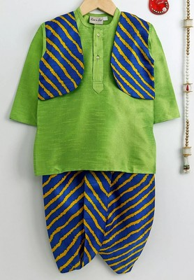 Green plain dupion boys-dhoti-kurta