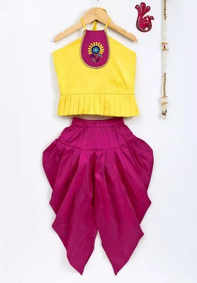 Yellow Embroidered Dupion Top With Dhoti For Girls