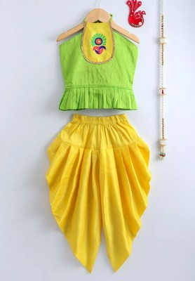 Green Embroidered Dupion Top With Dhoti For Girls