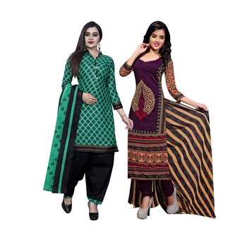 Green printed blended cotton salwar