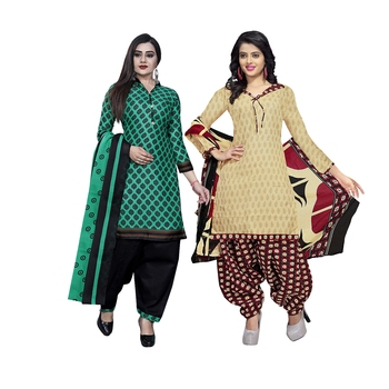 Green printed blended cotton salwar