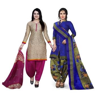 Beige printed blended cotton salwar