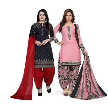 Black printed blended cotton salwar