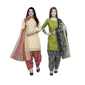 Off-White Printed Blended Cotton Salwar