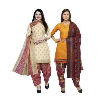 Off-White Printed Blended Cotton Salwar