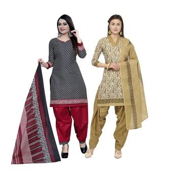 Multicolor printed blended cotton salwar