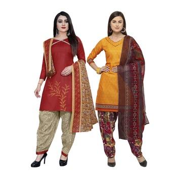 Red printed blended cotton salwar