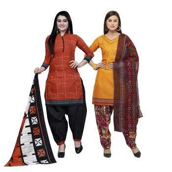 Brown Printed Blended Cotton Salwar