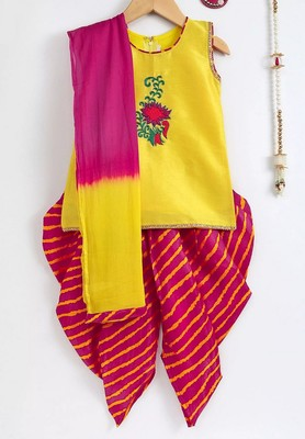 Yellow hand embroidered Kurta Dhoti salwar suit with dupatta for girls