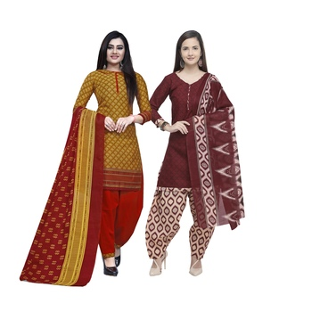Mustard Printed Blended Cotton Salwar