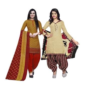 Mustard Printed Blended Cotton Salwar