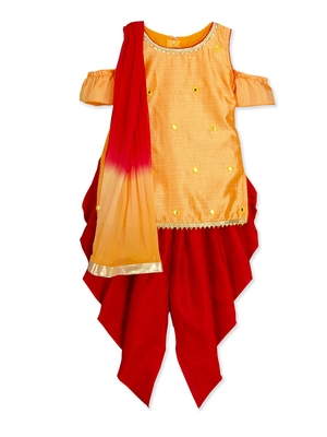 Orange mirror work dhoti kurta salwar suit with dupatta for girls