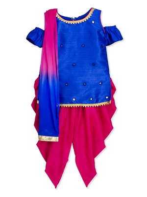 Blue mirror work kurta dhoti salwar suit with dupatta for girls