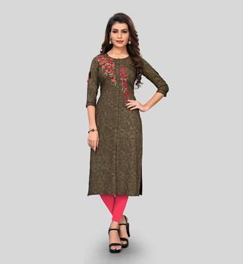 Brown embroidered rayon ethnic-kurtis