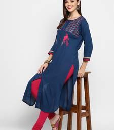 Royal-blue embroidered rayon ethnic-kurtis