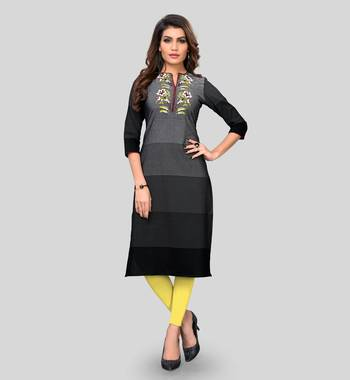 Multicolor embroidered cotton cotton-kurtis