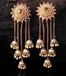Gold Plated Beaded Designer Dangler Jhumkas