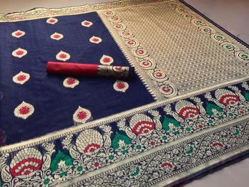 Blue Color Banarasi  Cotton Saree