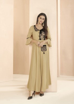 Beige embroidered rayon long-kurtis