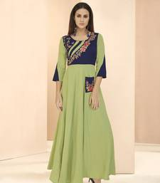 Parrot-green embroidered rayon long-kurtis