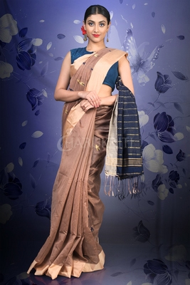 DARK PEARWOOD BROWN BLENDED COTTON SAREE WITH NAVY BLUE WOVEN PALLU AND ZARI BORDER