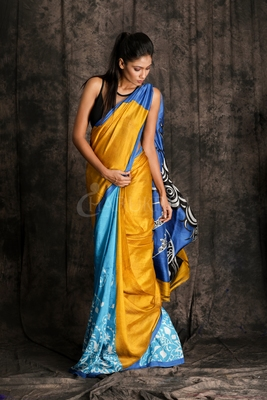 MUSTERED YELLOW AND NEON BLUE PRINTED SILK