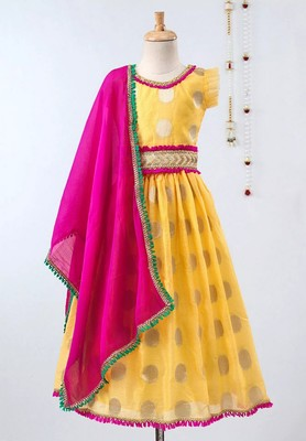 Yellow Chanderi Brocade Lehenga Choli For Girls