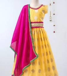 Yellow Chanderi Brocade Lehenga Choli For Girls