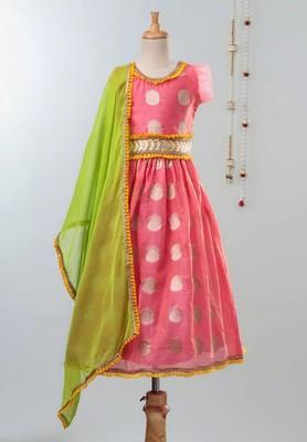 Pink Chanderi Brocade Lehenga Choli For Girls