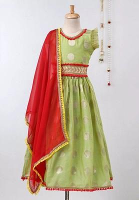 Green Chanderi Brocade Lehenga Choli For Girls