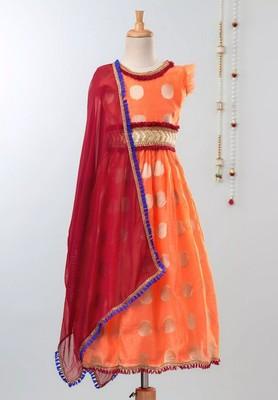 Orange Chanderi Brocade Lehenga Choli For Girls