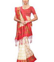 Red and White Printed Mysore Art Silk Saree With Blouse