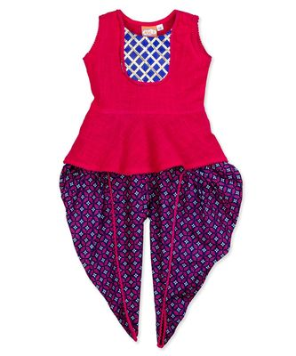 NIA PEPLUM TOP WITH FRONT LACE PATTERN DHOTI