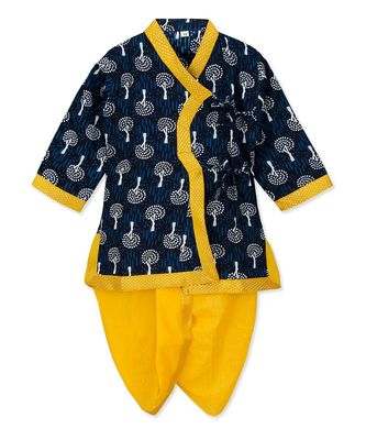 Blue Cotton Angrakha kurta with Dhoti