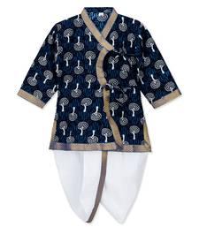 Blue Cotton Angrakha kurta with Dhoti