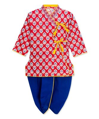 Red Angrakha Kurta Dhoti Krishna Dress