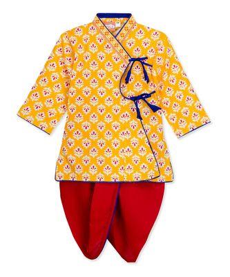 Yellow Angrakha Kurta Dhoti Krishna Dress
