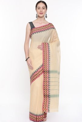CLASSICATE From The House Of The Chennai Silks Women's Beige Chettinad Cotton Saree With Running Blouse
