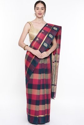 CLASSICATE From The House Of The Chennai Silks Women's Multicolor Coimbatore Cotton  Saree With Running Blouse