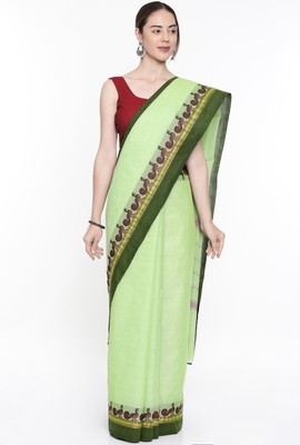 CLASSICATE From The House Of The Chennai Silks Women's Green Chettinad Cotton Saree With Running Blouse