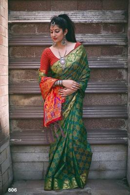 Green  Color Banarasi silk Patola saree