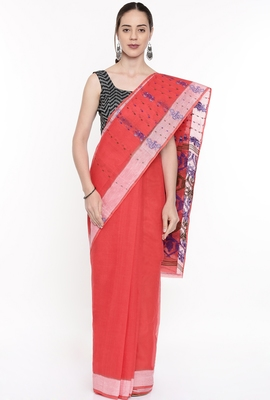 CLASSICATE From The House Of The Chennai Silks Women's Red Bengal Cotton Saree With Running Blouse