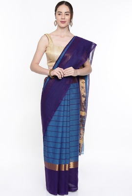 CLASSICATE From The House Of The Chennai Silks Women's Blue Venkatagiri Cotton Saree With Running Blouse