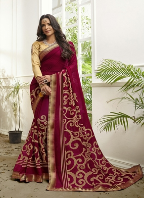 dark pink printed georgette saree with blouse