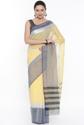 CLASSICATE From The House Of The Chennai Silks Women's Yellow Venkatagiri Cotton Saree With Running Blouse