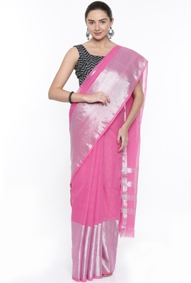 CLASSICATE From The House Of The Chennai Silks Women's Neon Pink Venkatagiri Cotton Saree With Running Blouse