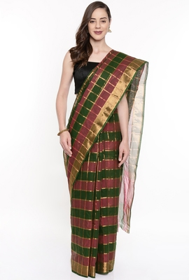 CLASSICATE From The House Of The Chennai Silks Women's Multicolor Venkatagiri Cotton Saree With Running Blouse